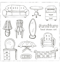 Set of doodle sketch furniture vector image