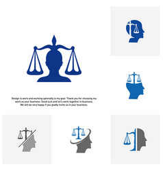 Set of law firm with people logo design template vector