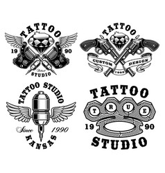 set of monochrome tattoo emblems vector image
