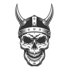 skull in the viking helmet vector image