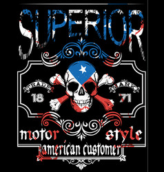 skull t shirt graphic design with flag vector image