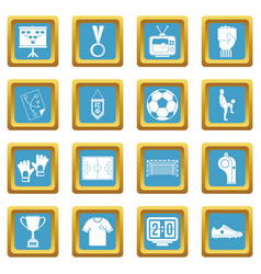 Soccer football icons azure vector