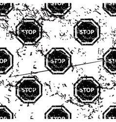 Stop sign pattern grunge monochrome vector