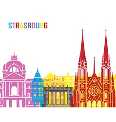 Strasbourg skyline pop vector