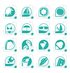 Stylized simple summer and holiday icons vector