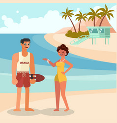 summer girl and guard man vector image