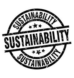 Sustainability round grunge black stamp vector