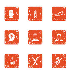 Technical training icons set grunge style vector