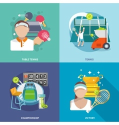 Tennis flat set vector image