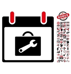Toolbox Calendar Day Flat Icon With Bonus vector image