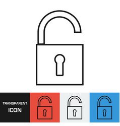 transparent open padlock icon vector image