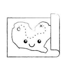 treasure map game kawaii character vector image
