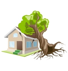 Tree fell on house Home insurance vector image