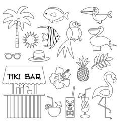 tropical digital stamps vector image
