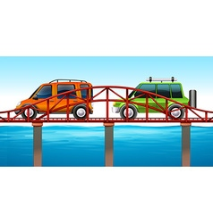 Two cars on the bridge vector