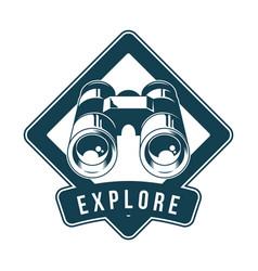 vintage badge with classic metal binoculars vector image