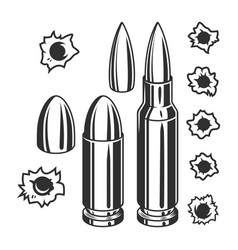 Vintage bullets and bullet holes set vector