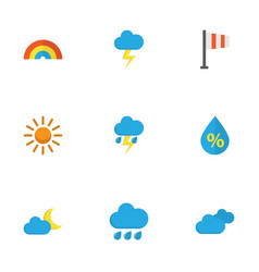 weather flat icons set collection of lightning vector image