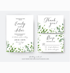 Wedding invite invitation rsvp thank you cards vector