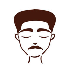 Young afro man ethnicity with mustache silhouette vector