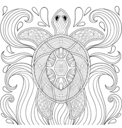zentangle turtle in waves freehand sketch vector image