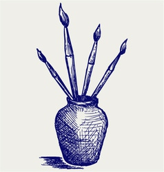 Brushes in vase vector image vector image