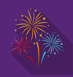 colorful fireworks icon in flat style isolated on vector image