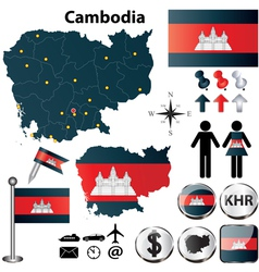 Map of Cambodia vector image vector image