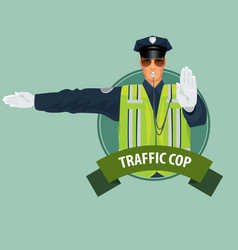 round icon with officer of traffic police vector image vector image