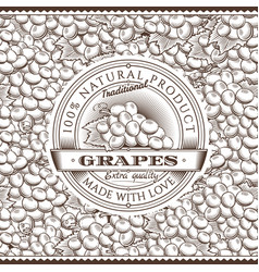 vintage grapes label on seamless pattern vector image vector image