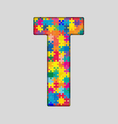 Color Puzzle Piece Jigsaw Letter - T vector image