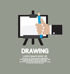 Drawing On Easel With Pencil vector image