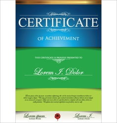 Green and blue certificate template vector image vector image