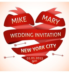 Wedding invitation in the shape of heart vector image vector image