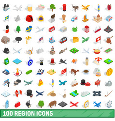 100 region icons set isometric 3d style vector image vector image