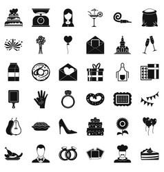 cake icons set simple style vector image