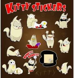 Cat stickers set vector image vector image