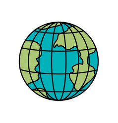 colorful silhouette of earth globe with meridians vector image vector image