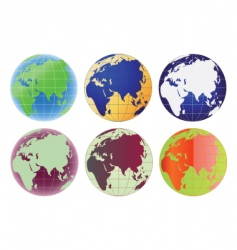 globe europe and asia set vector image vector image