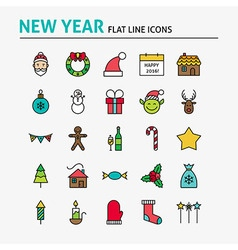 Happy new year colorful flat line icons set vector