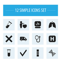 Set of 12 editable health icons includes symbols vector