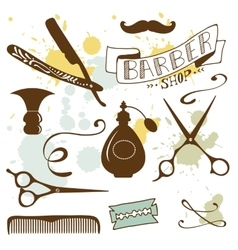 Set of vintage barber shop and hairdresser vector image