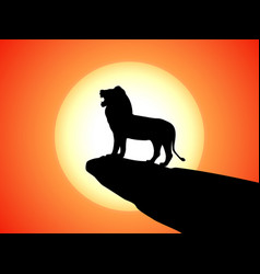 black silhouette snarling lion on a rock vector image