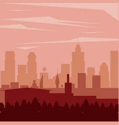 Colorful background landscape of city in the night vector