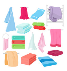 flat set of cartoon towels in vector image