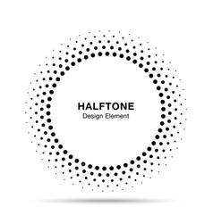 Halftone circle frame dots logo emblem vector