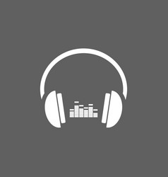 headphones with music icon on dark background vector image vector image