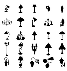 Lamps silhouettes set vector image