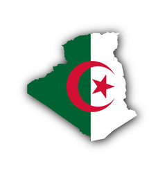 map and flag of algeria vector image vector image