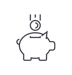piggy bank with coin line icon sign vector image vector image